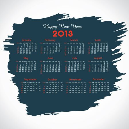 new year calendar 2103 in painted stock vector Stock Vector - 16845689