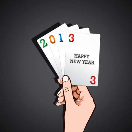 show happy new year 2013 in playing card stock vector Stock Vector - 16845625