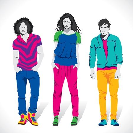 clothing shop: moda chico y chica vector stock Vectores
