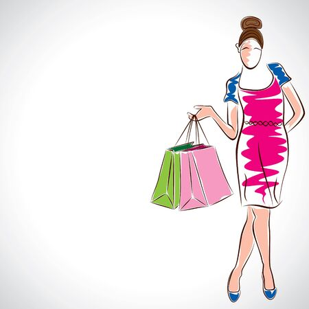 satisfied customer: fashion women with shopping bag stock vector