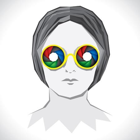 women wear colorful shutter goggle Stock Vector - 16845618