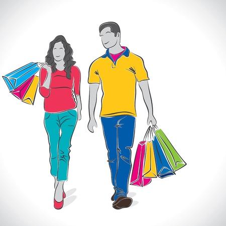 rich couple: shopping couple stock vector