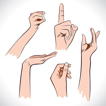 hand show different position and sign stock vector