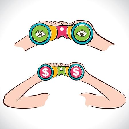 two design of binocular dollar and eye show in lens Stock Vector - 16845562