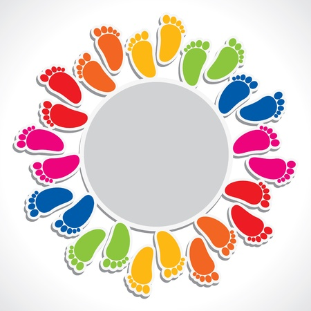 arrange: colorful foot print arrange in round circle stock vector