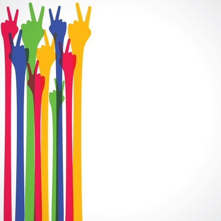 gesturing: colorful hand show victory sign Illustration