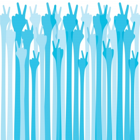 three hands: blue hand show victroy sign background Illustration