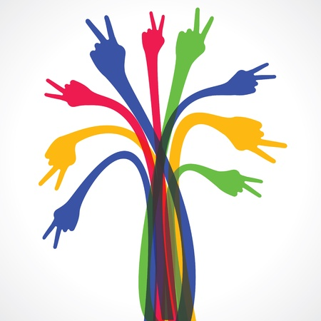 electric wires: colorful hand show the victory sign stock vector Illustration
