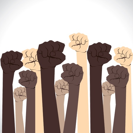 closed society: every hand support and show the unity Illustration
