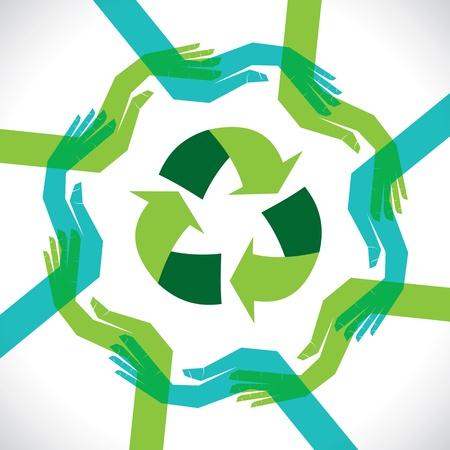 interracial: apoyar la mano concepto de reciclaje Vectores