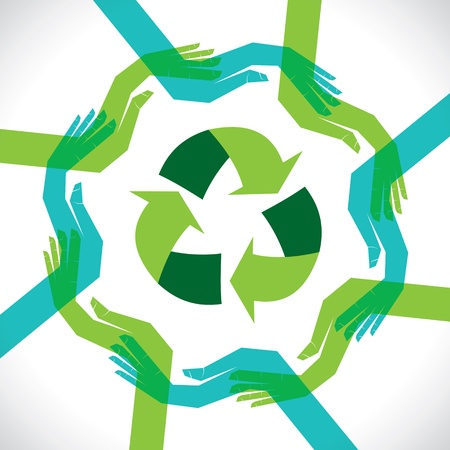 international recycle symbol: support hand recycle concept