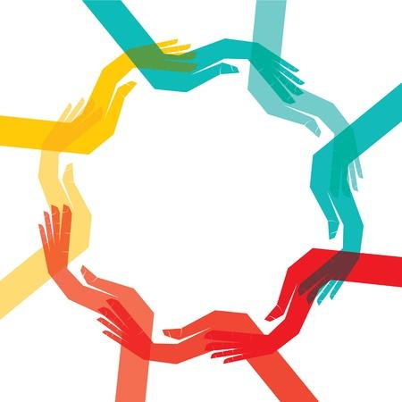 sinergia: mano color hacen de forma redonda para guardar cosas Vectores