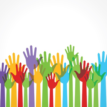 colorful  hand up to support stock vector Stock Vector - 16845655