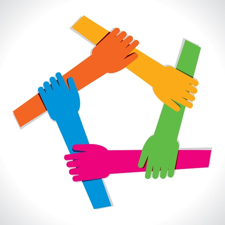 strong partnership: colorful hand show unity