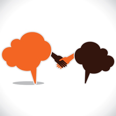 two people meeting: handshake and join venture between people Illustration