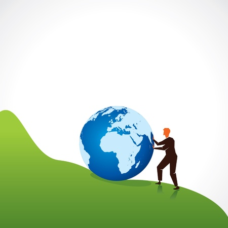 men support the world globe Stock Vector - 16845677