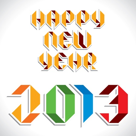 colorful sharp edge font new year 2013 greeting stock vector Stock Vector - 16845742