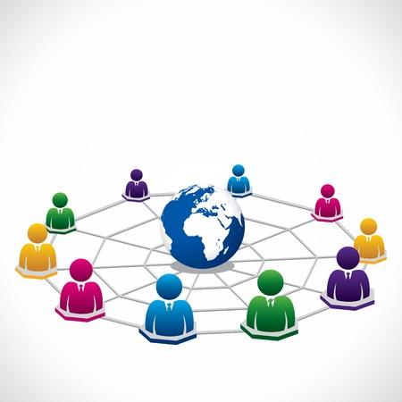 social networking service: conexi�n global en todo el mundo para las personas Vectores