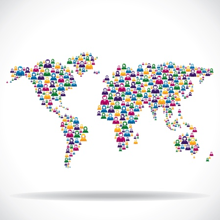 poblacion: grupo de personas en el mundo mapa vectorial de stock