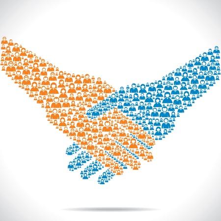 compromiso: apretón de manos y join venture entre las personas Vectores