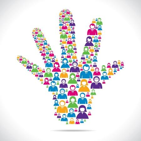 cooperativismo: openhand con un grupo de personas vector stock