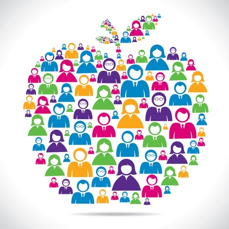 equal to: group of people make apple shape stock vector