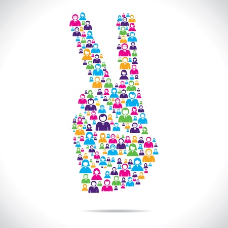 victory sign design group of people stock vector
