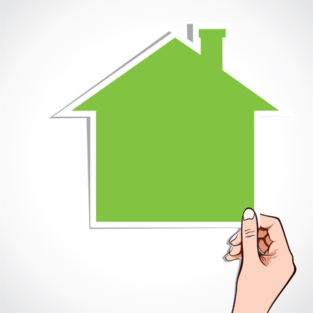 green home icon in hand stock Stock Vector - 16905031