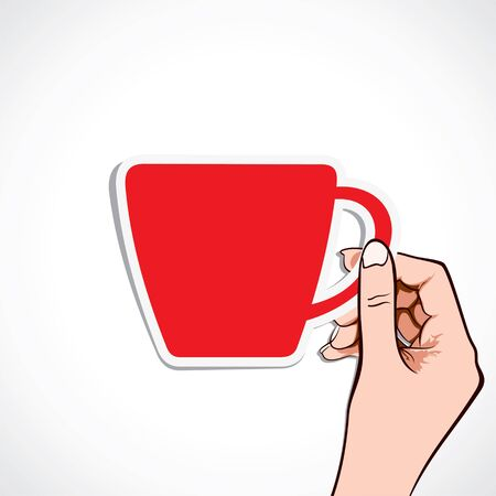 red coffee cup in hand stock Stock Vector - 16905017