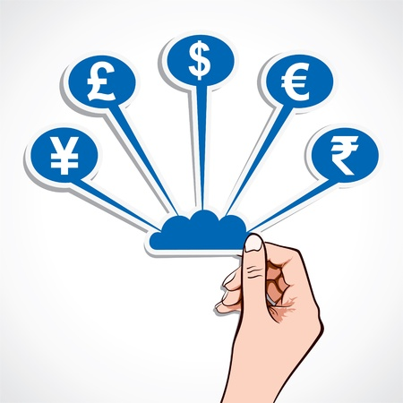 creative currency symbol icon in hand stock  Stock Vector - 16905020