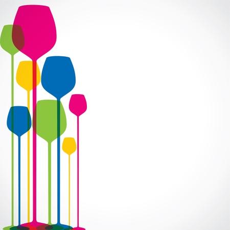 colorful wine glass stock  Иллюстрация