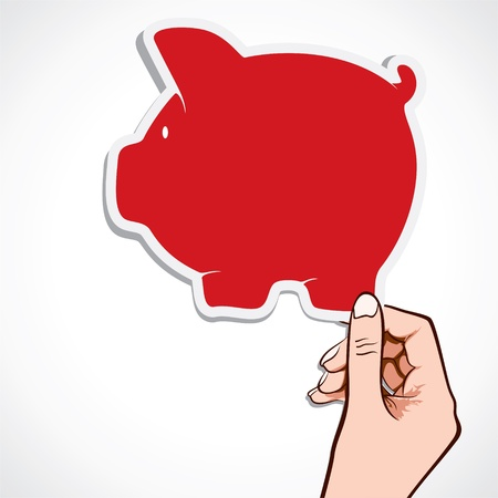 insert: red piggy bank icon in hand stock  Illustration