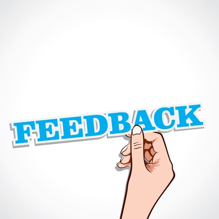 feedback word in hand stock  Vector