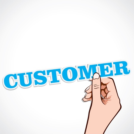 customer focus: customer word in hand stock  Illustration