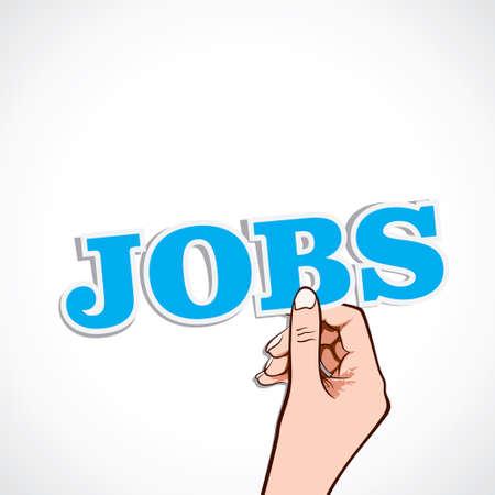 jobs word in hand stock Stock Vector - 16905033