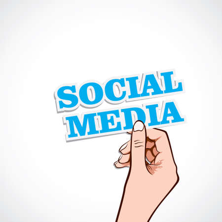 social media word in hand stock vector Stock Vector - 16901687