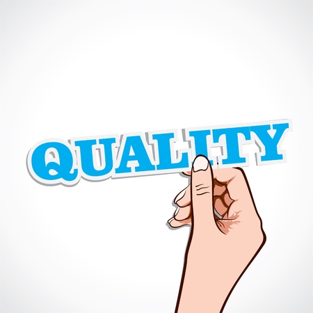 quality word in hand stock vector Stock Vector - 16902322