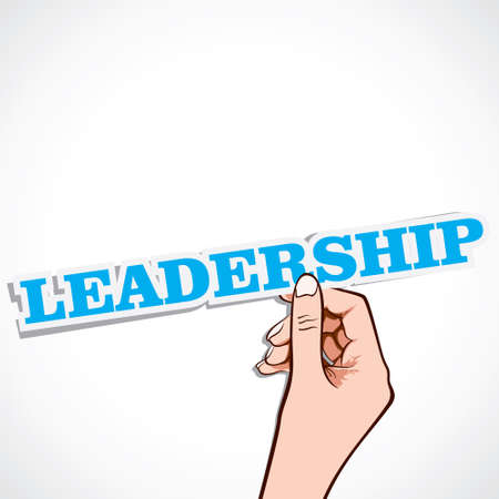 master page: leadership word in hand stock vector