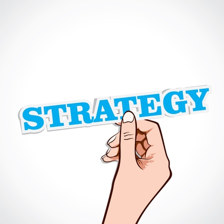 strategy word on hand stock vector Stock Vector - 16901437