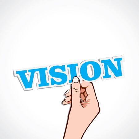 statement: vision word on hand stock vector Illustration