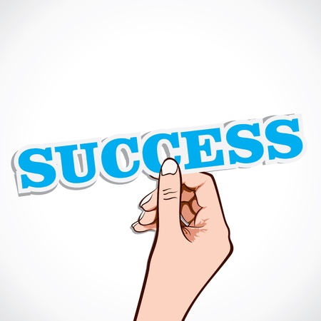 financial freedom: success word in hand stock vector