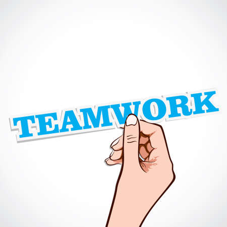 team working together: teamwork word in hand stock vector