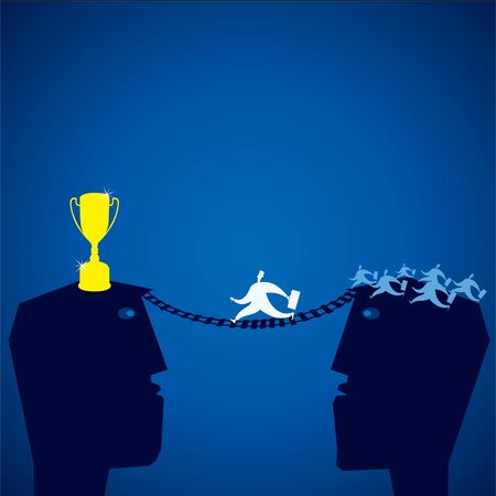 winner man: competition for golden cup stock vector Illustration