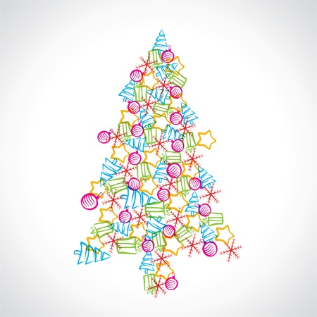 christmas tree design with ball ,star and tree Stock Vector - 16904832