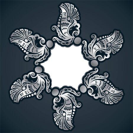 wallflower: creative classic silver design background with sticker Illustration