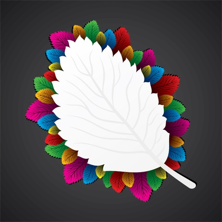 colorful leaf around the white leaf stock  Stock Vector - 16904569