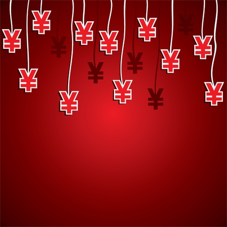 yen currency symbol red background stock Stock Vector - 16904541
