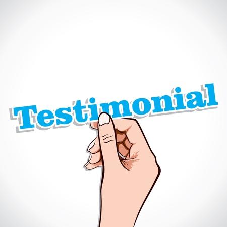 Testimonial Wort in der Hand stock vector Illustration