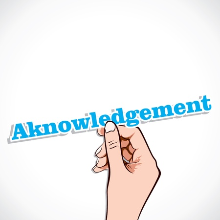 awarded: Acknowledgement word in hand stock vector