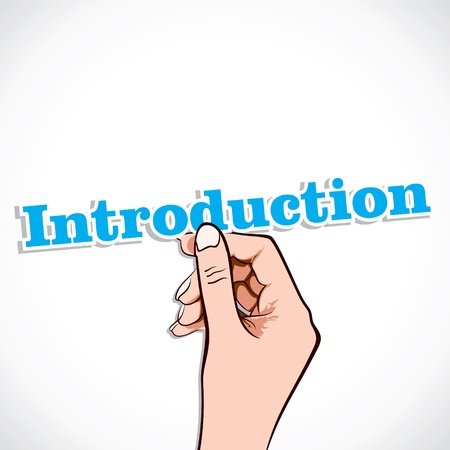 introduction: Introduction word in hand stock vector Illustration